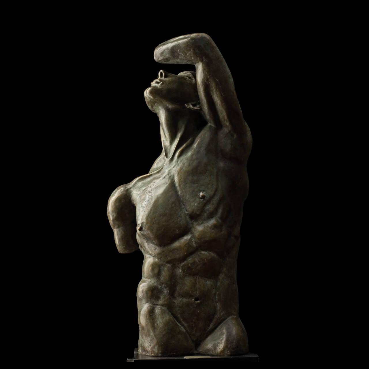 mario pavesi italian sculptur painter bronze male figure Adonai