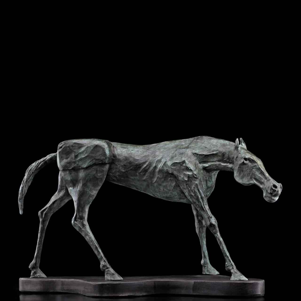 mario pavesi italian sculptur painter bronze horse wolking