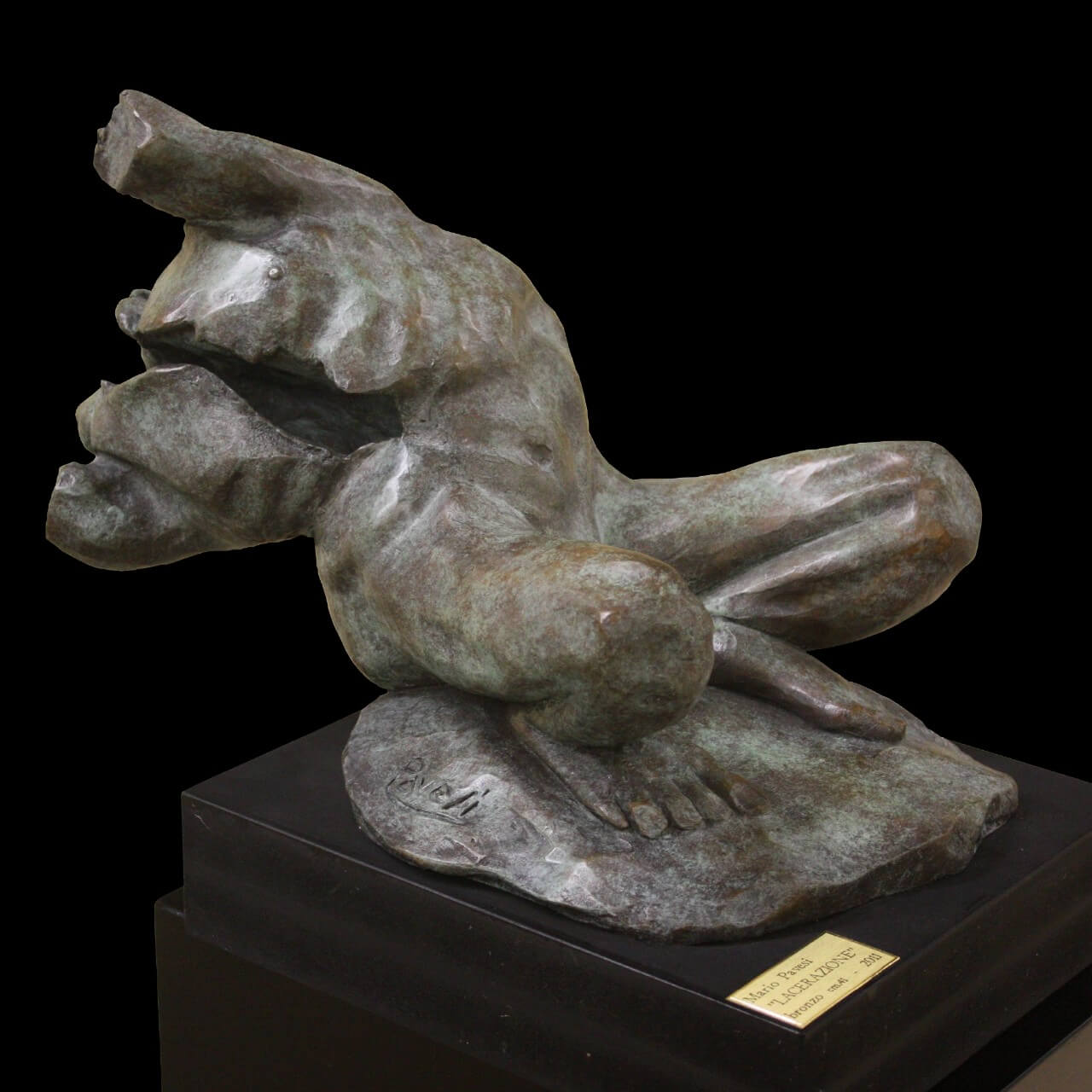 mario pavesi italian sculptur painter bronze male figure